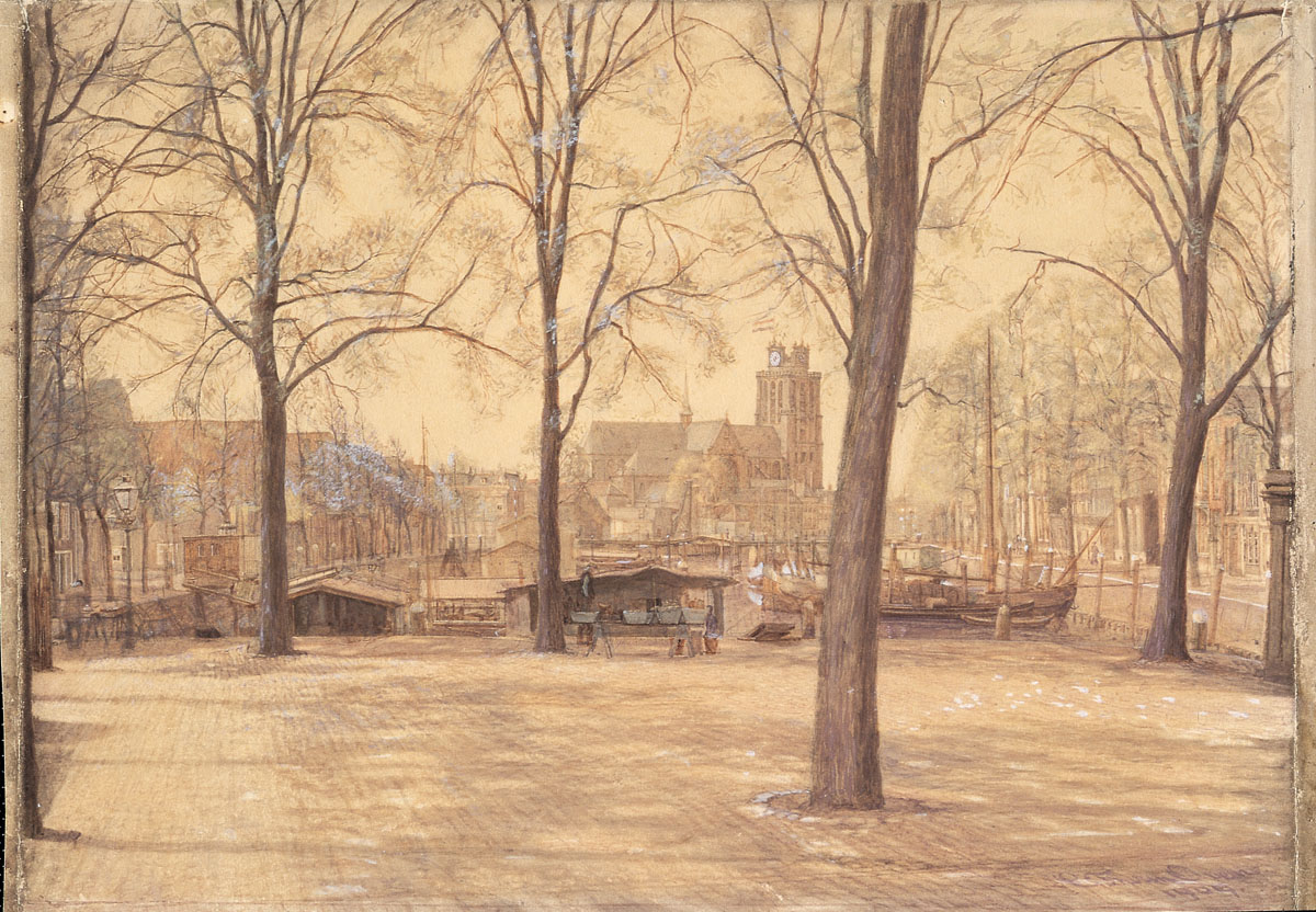 1909 Gezicht op de Nieuwe Haven en de Grote Kerk te Dordrecht door Coen van Oven