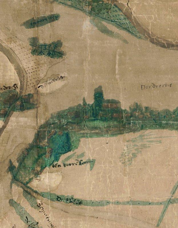 Uitsnede eeuwenoude reuzenkaart van Dordrecht