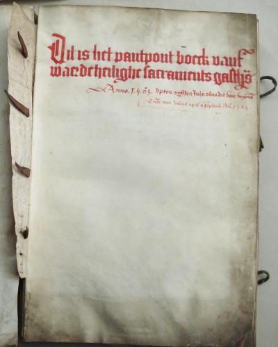 Pandpondboek Sacraments Gasthuis 1563 titelpagina